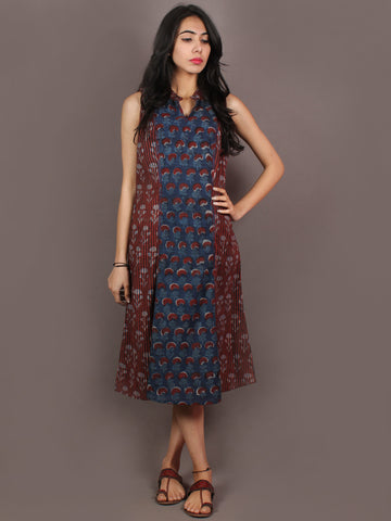 Indigo Maroon Beige Hand Block Printed Knee Length Cotton Dress With Mandarin Collar  - D0737201