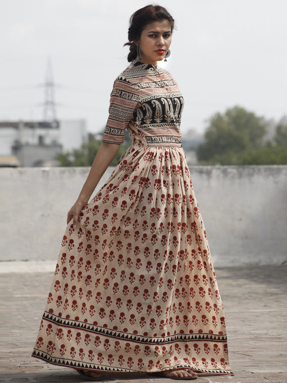 Naaz Alina - Beige Maroon Black Hand Block Printed Long Cotton Dress With Front Slit & Gathers  -  DS41F001