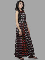 Black Grey Red Ivory Handwoven Double Ikat Cotton Sleeveless Dress  - D5465801