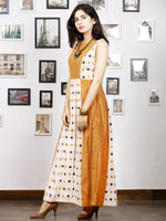 Off White Mustard Long Sleeveless Handwoven Double Ikat Dress With Side Pockets - D275F764