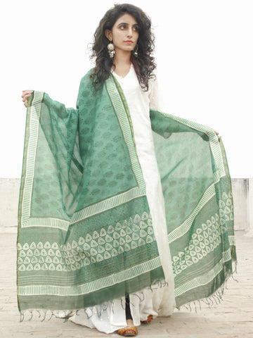 Fern Green Ivory Chanderi Hand Black Printed & Hand Painted Dupatta - D04170219