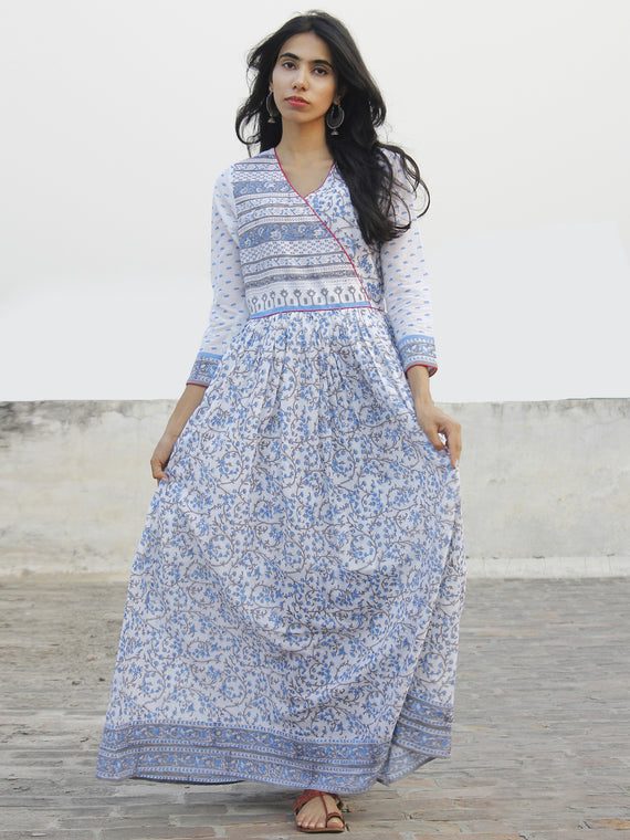 Blue White Grey Magenta Hand Block Printed Long Angrakha Dress -  DS38F001
