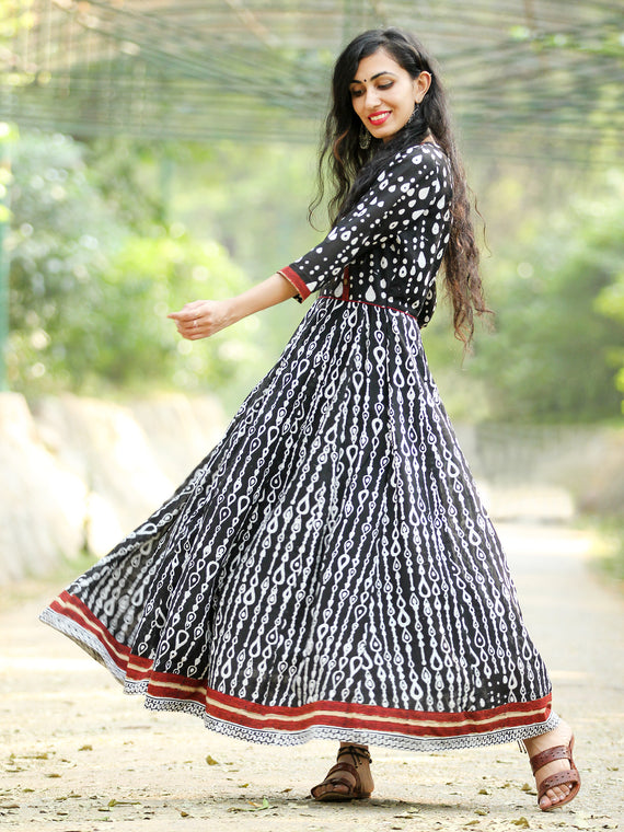 Monochrome  - Hand Block Printed Long Cotton Angrakha Dress  - DS75F001