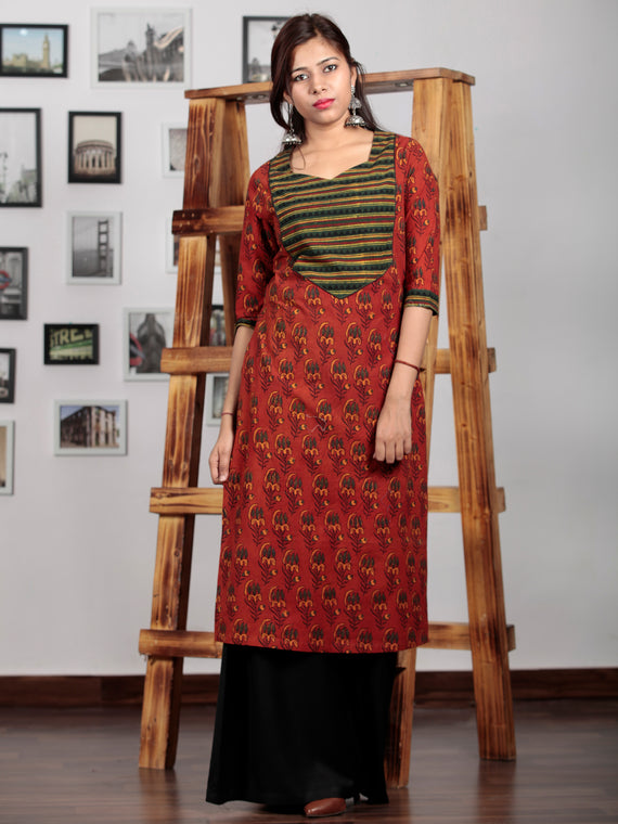 Rust Yellow Green Black Ajrakh Hand Block Printed Kurta   - K69BP0104