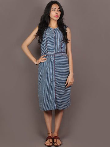 Indigo White Hand Block Printed Knee Length Cotton Dress With Maroon Piping - D0903601