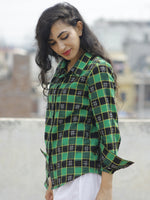 Black Green Yellow Ivory Hand Woven Double Ikat Shirt  - T21F767