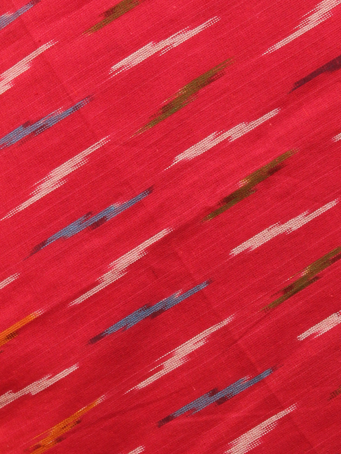 Red Yellow Off White Ikat Handwoven Cotton Suit Fabric Set of 3 - S1002010
