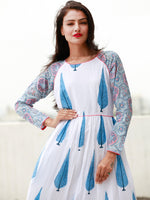 White Blue Pink Long Hand Block Printed Cotton Dress With Frills - D06F1500