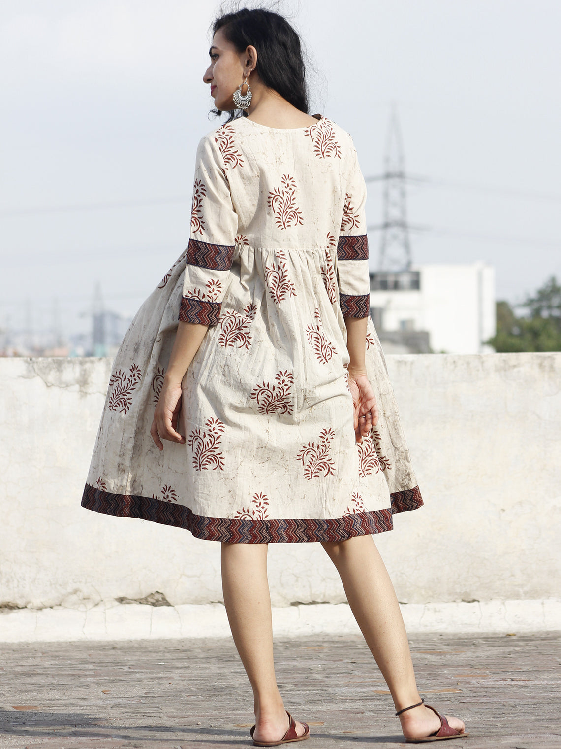 Beige Maroon Indigo Hand Block Printed Cotton Dress With Ajrakh Printed Border & Gathers - D73F428