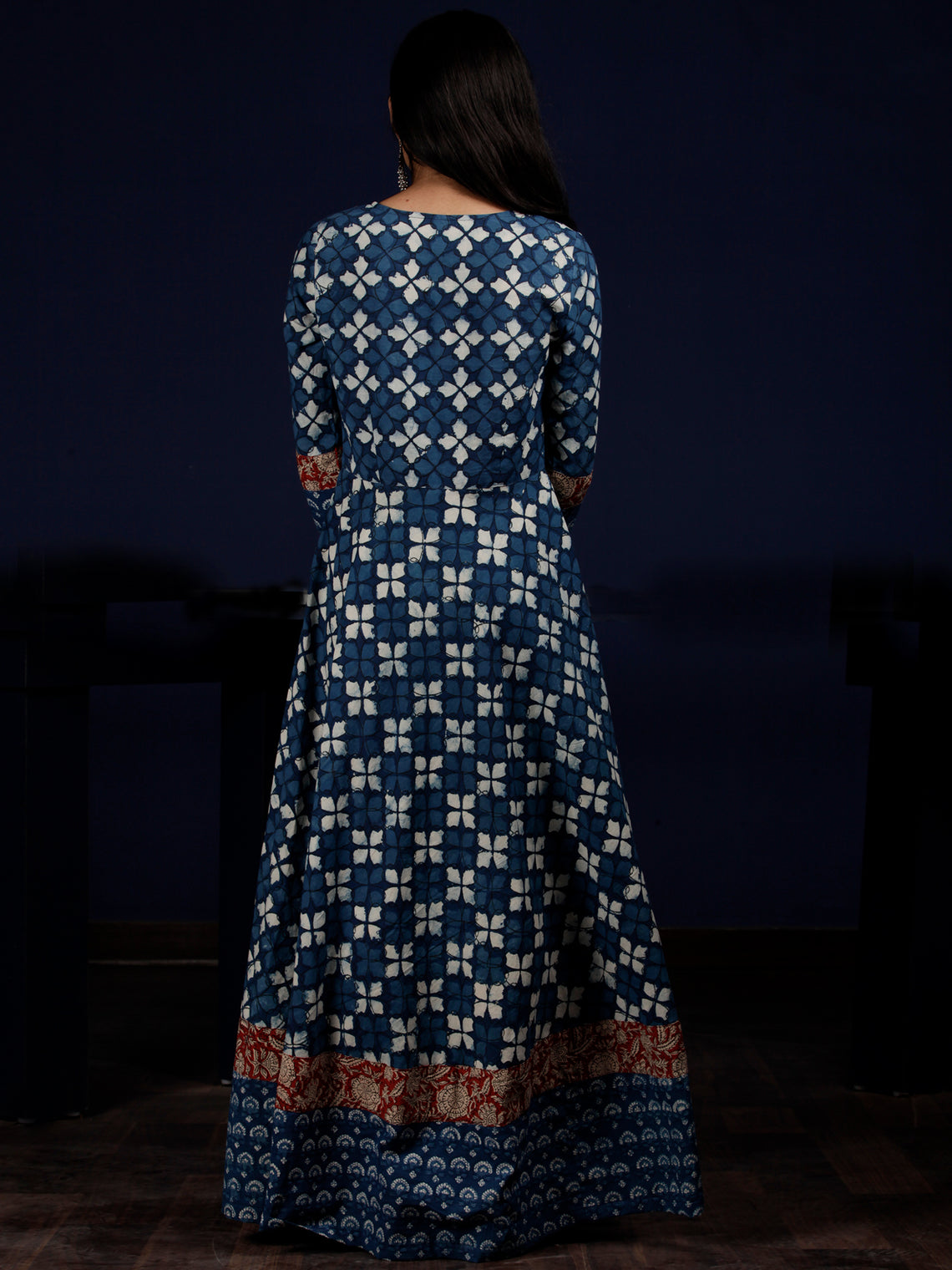 Indigo White Red Hand Block Printed Cotton Dress With Pin Tuck  - D204F1340
