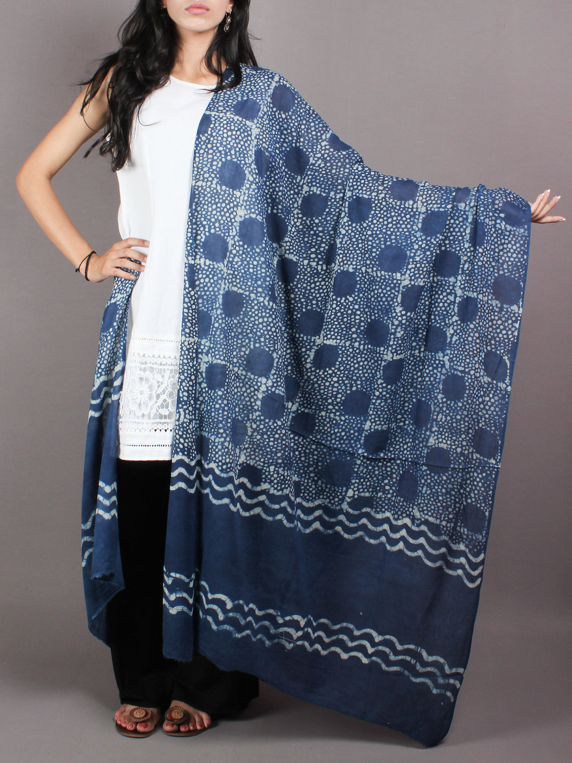 Indigo White Cotton Mul Hand Block Printed Dupatta - D0417067