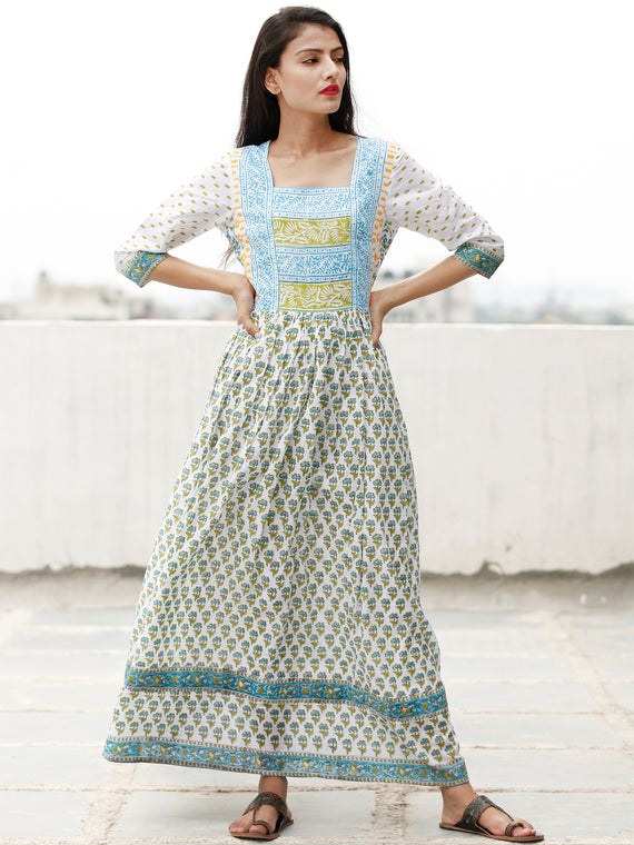 White Sky Blue Green Hand Block Printed Dress With Gathers -  DS76F001