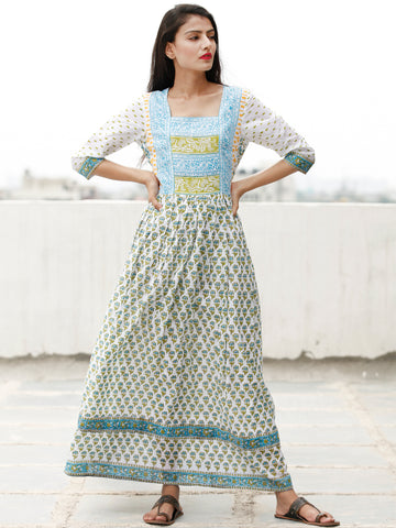 White Sky Blue Green Hand Block Printed Dress With Gathers -  DS65F001