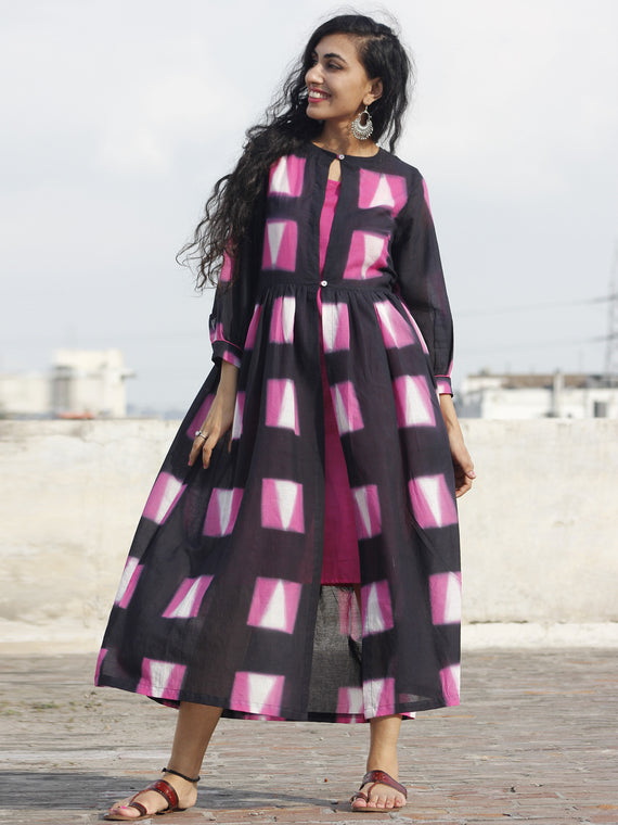 Naaz Black Pink White Hand Block Printed & Tie Dye Dress With Peasant Sleeves & Lining -DS25F001