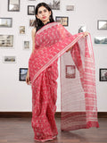 Lipstick Pink Ivory Hand Block Printed Kota Doria Saree in Natural Colors - S031703144