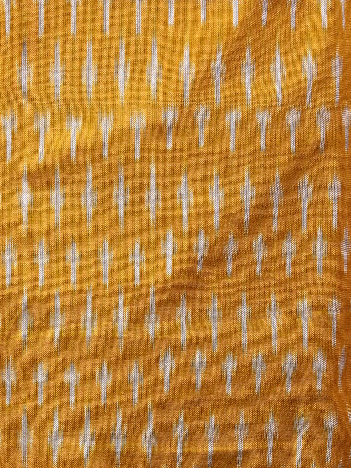 Yellow Black White Ikat Handwoven Cotton Suit Fabric Set of 3 - S1002011
