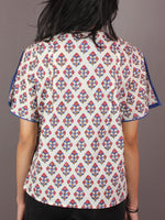 Ivory Multi Colour Hand Block Printed Cotton Top - T11640022