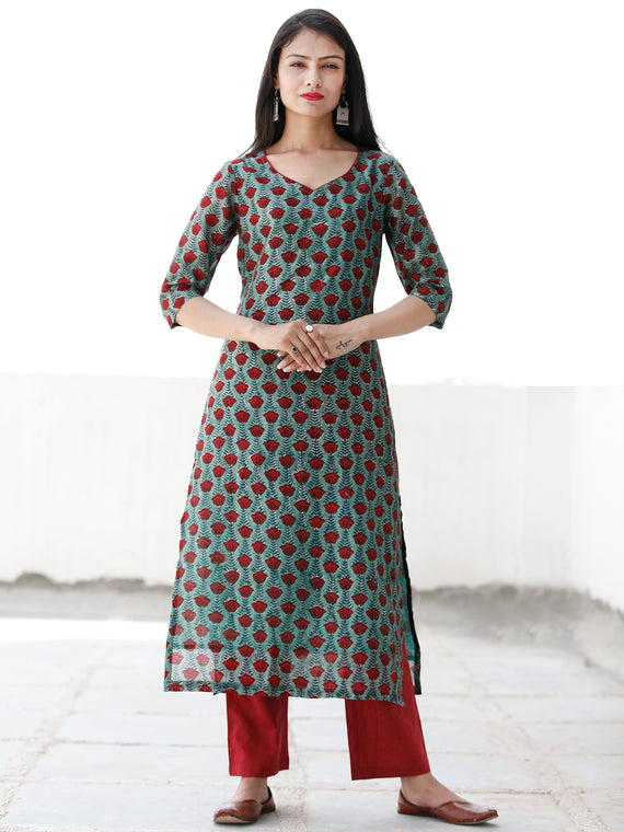 Rose Garden - Dark Green Maroon Chanderi  Kurta & Pants Sets  - Set of 2  - SS01F1925