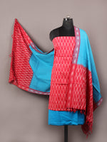 Azure Red White Ikat Handwoven Cotton Suit Fabric Set of 3 - S1002012