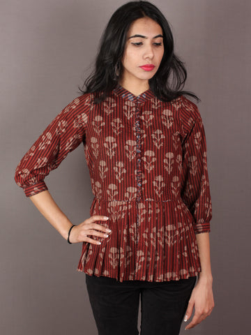 Red Beige Hand Block Printed Cotton Top - T11640023