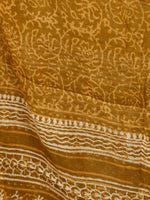 Brown Ivory Hand Block Printed Cotton Suit-Salwar Fabric With Chiffon Dupatta (Set of 3) - SU01HB335