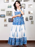 White Indigo Blue Hand Block Printed Long Cotton Tier Dress With Pin Tuck Neck - D221F1498