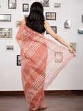 Dark Peach Ivory Hand Block Printed Kota Doria Saree In Natural Colors - S031703145