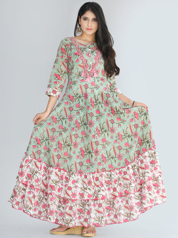 Gulzar Fariba - Hand Block Printed Long Cotton Dress With Ruffles - D412F2187