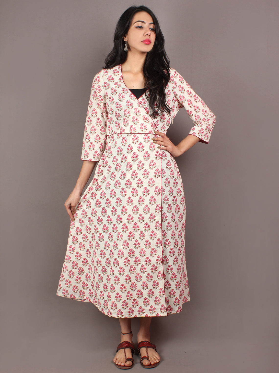 White Pink Mint Green Hand Block Printed Long Cotton Angrakha Dress - D2012301