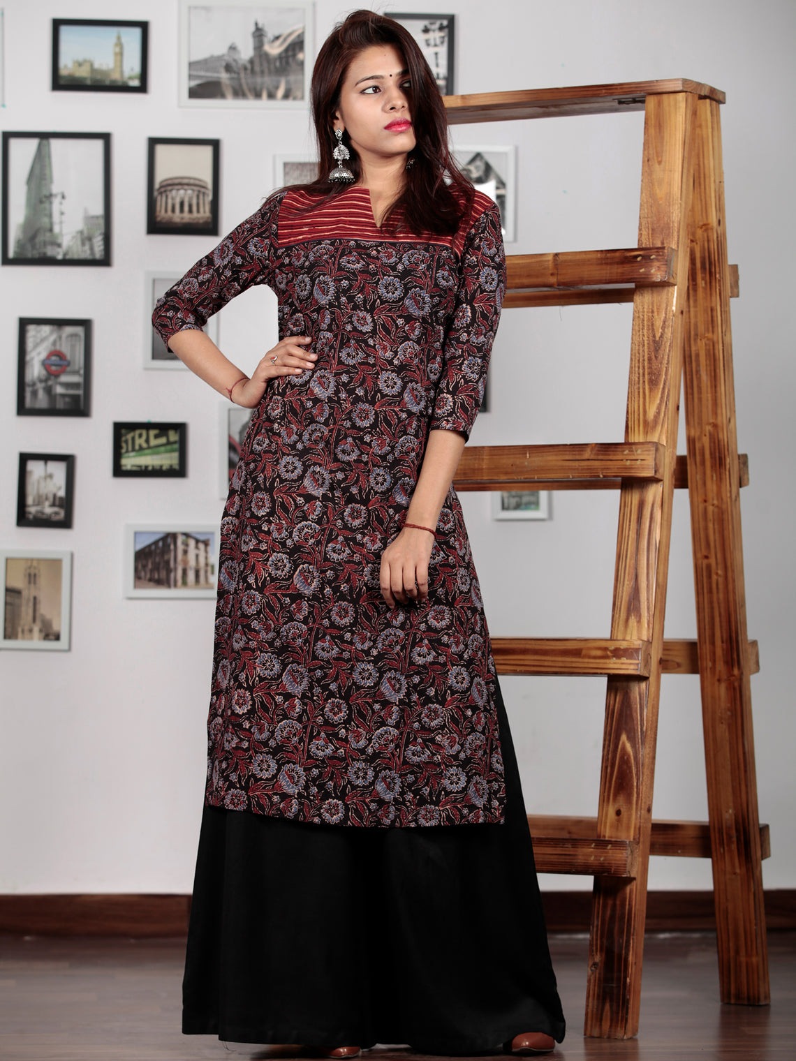 Black Maroon Red Blue Ajrakh Hand Block Printed Kurta in Natural Colors - K69BP0124