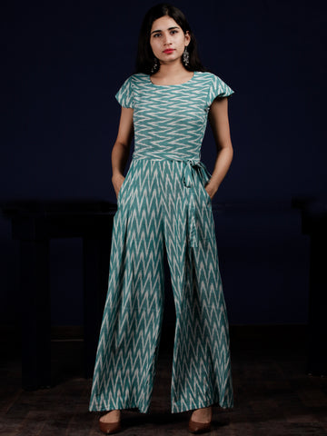 Teal Green Grey Ikat Handwoven Jumpsuit With Belt And Back Zip - D249F1253