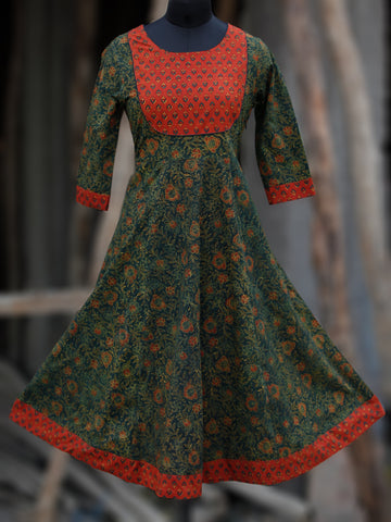 Green Red Yellow Black Ajrakh Hand Block Printed Kurta - K62BP082