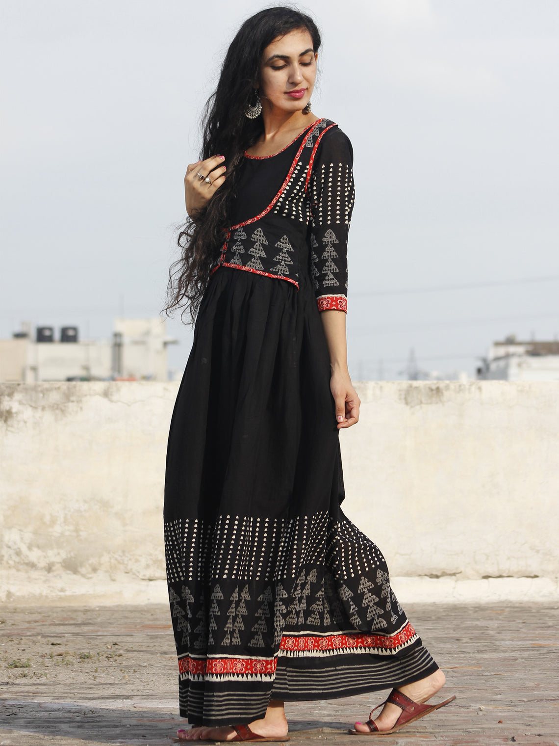 Black White Grey Hand Block Printed Long Dress With Gathers -  DS18F001