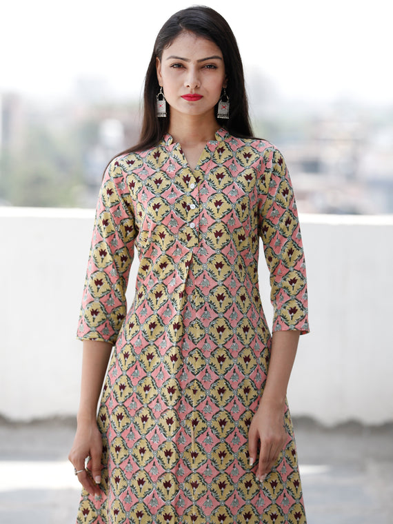 Pink Yellow Maroon Green Hand Block Printed Cotton Kurta With Stand Collar   - K171F1906