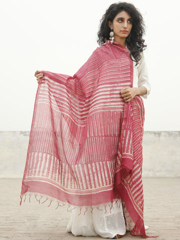 Punch Pink Ivory Chanderi Hand Black Printed & Hand Painted Dupatta - D04170225