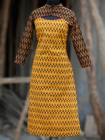 Yellow Rust Black Green Hand Block Printed Ajrakh Kurta With Stand Collar  - K38BP088