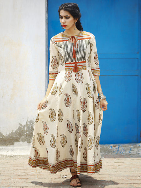 Beige Brown Maroon Black Hand Block Printed Long Cotton Dress with Tassels - DS02F001