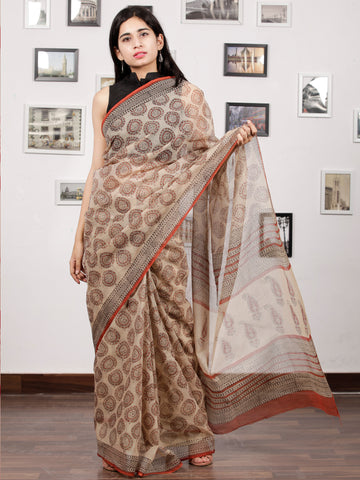 Beige Rust Black Hand Block Printed Kota Doria Saree In Natural Colors - S031703147