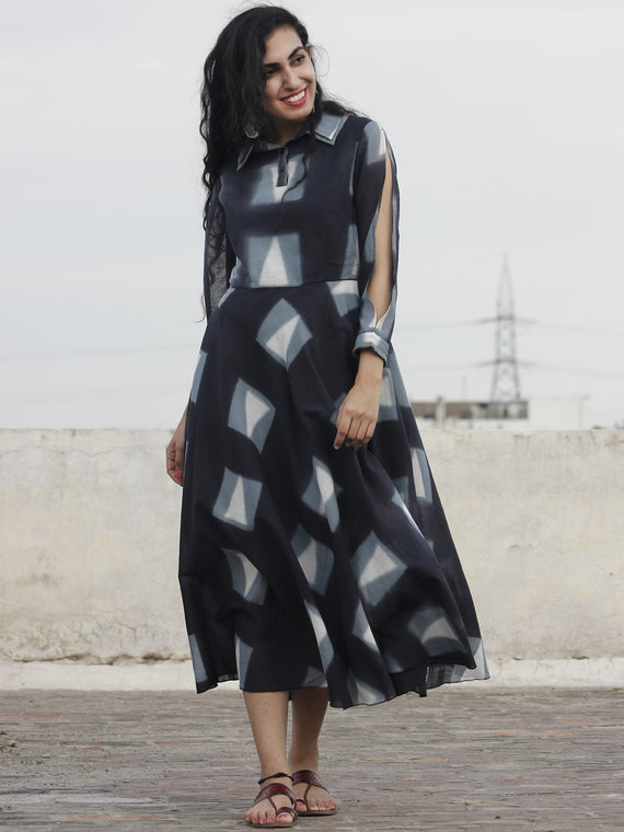 Naaz Black Grey White Hand Block Printed & Tie Dye Dress With Sleeve Slit And Collar - DS23F001