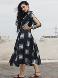 Black Grey White Hand Block Printed & Tie Dye Dress With Sleeve Slit And Collar - DS23F001