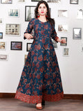 Indigo Rust Ivory Red Hand Block Printed Long Cotton Dress With Back Knots - D162F1341