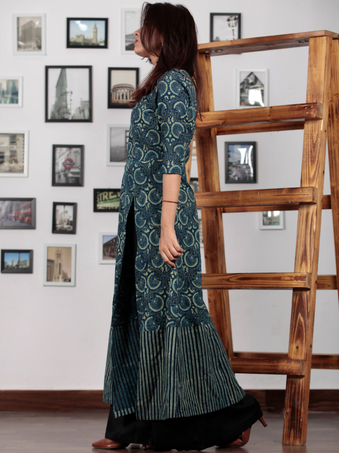 Green Black Indigo Ajrakh Hand Block Printed Long Kurta With Front Slit - K60BP0112