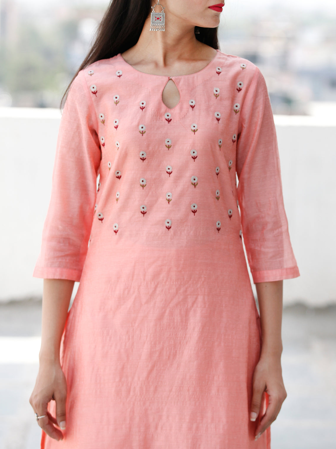 Zari Garden - Peach Silver Chanderi  Kurta & Plazzo Sets  - Set of 2  - SS01F054