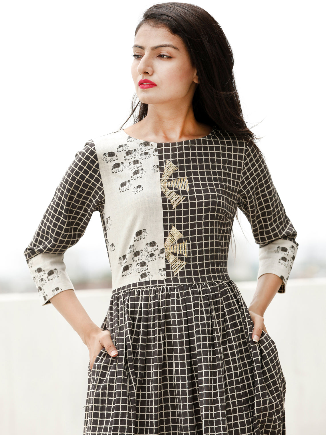 Casual Dress Up - Block Printed Cotton Dress  - D362F1866