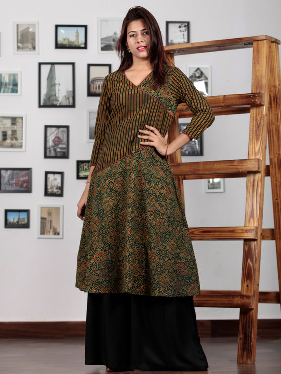 Green Yellow Black Maroon Ajrakh Hand Block Printed Kurta - K36BP0106