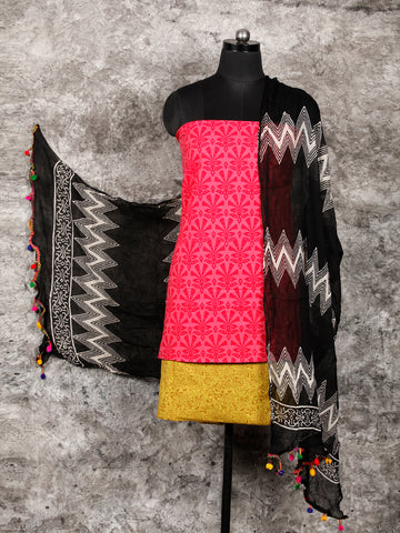 Mustard Coral Black Hand Block Printed Cotton Suit-Salwar Fabric With Chiffon Dupatta (Set of 3) - SU01HB402