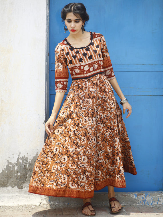 Rust Maroon Ivory Black Hand Block Printed Long Cotton Dress  - DS05F001
