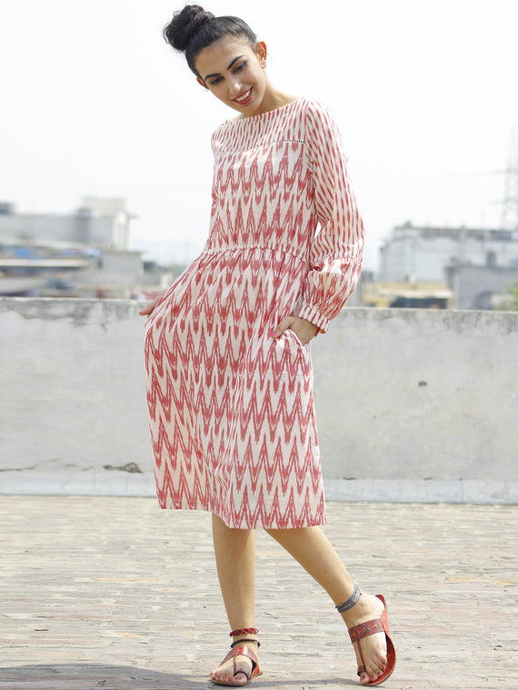 Pink Ivory Handloom Ikat Dress With Side Pockets And Peasant Sleeve-  D109F722