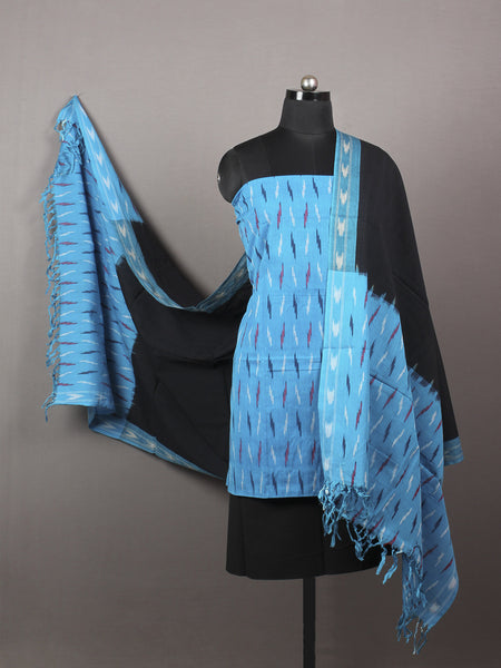 Azure Black Multi Color Ikat Handwoven Cotton Suit Fabric Set of 3 - S1002015
