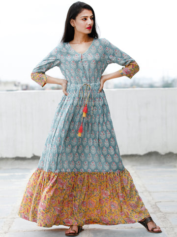 Sea Green Pink Yellow White Hand Block Printed Cotton Long Dress With Tie Up Waist - D170F1845